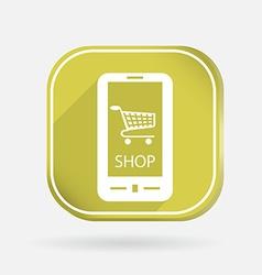 Symbol cart online store color square icon vector
