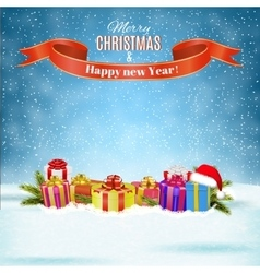 Winter background with presents vector image vector image