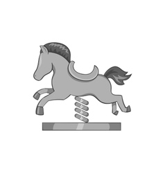 Horse rocking icon black monochrome style vector
