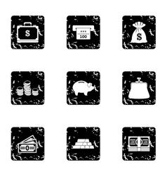 Cash icons set grunge style vector