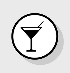 Cocktail sign   flat black vector