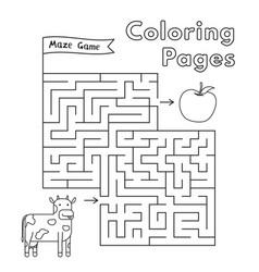 Cartoon cow maze game vector