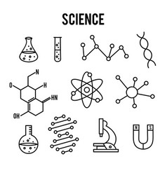 Science icons on white background research vector