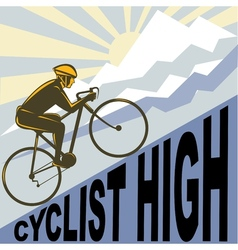 Cyclist racing bike up steep mountain vector