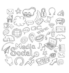 Doodle social icons vector