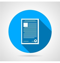 Flat round icon for document vector
