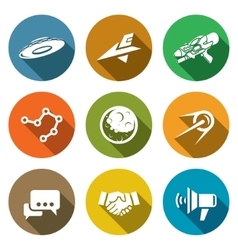 Aliens search contact icons set vector