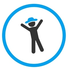 Male joy circled icon vector