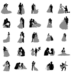 Broom and bride silhouette set vector