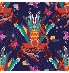 Exotic tropical crab seamless pattern vector