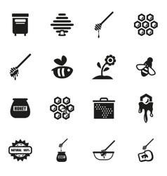 Black honey icon set vector