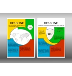 brochure template with world map vector image