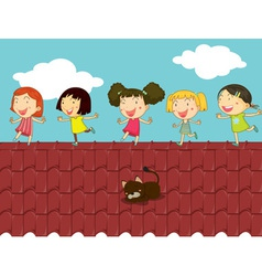 Cartoon of kids on the roof vector image vector image