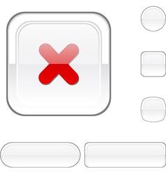 Cross white button vector