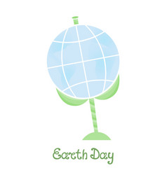 earth day a planet on a stem with leaves vector image