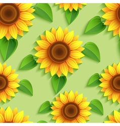 Floral seamless pattern with 3d sunflowers vector image