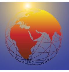 global wireframe eastern earth globe bright sun vector image vector image