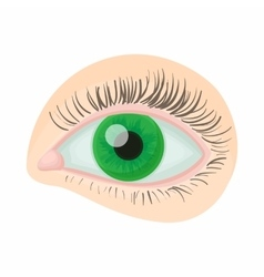 Green human eye icon cartoon style vector image