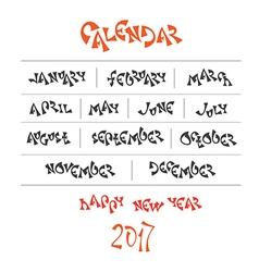 Hand written year month names vector