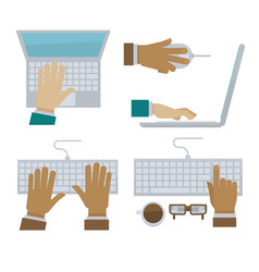 hands typing on laptop and computer keyboard vector image vector image