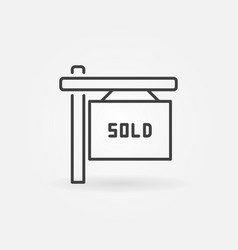 house sold line icon vector image vector image