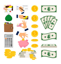 money icons big collection vector image vector image