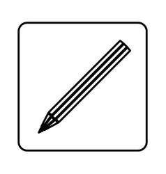 Monochrome contour square with pencil icon vector
