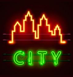 neon city text banner city shape vector image