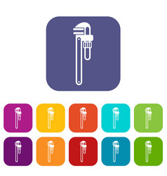 Pipe or monkey wrench icons set vector