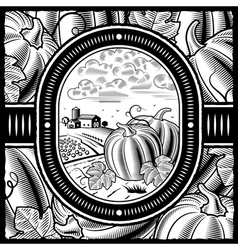 Pumpkin harvest black and white vector image