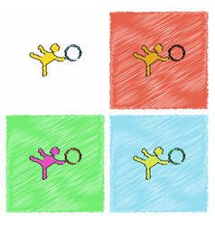 Rhythmic gymnastics design in hatching style vector