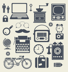 Set of vintage silhouettes of hipster objects vector