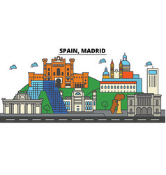 Spain madrid city skyline architecture vector