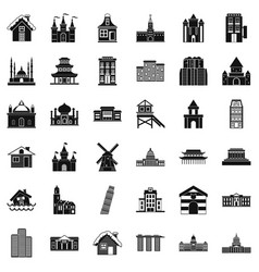 Tower building icons set simple style vector