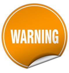 Warning round orange sticker isolated on white vector