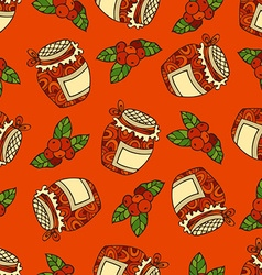 seamless red berry pattern vector image