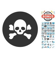 Skull black spot icon with 2017 year bonus vector
