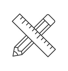 Pencil and ruler linear icon vector
