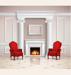 classic interior with fireplace and armchairs vector image