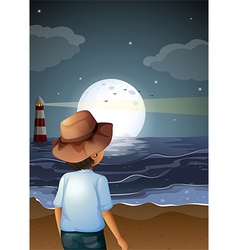 A backview of a man in the beach vector