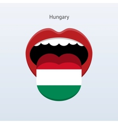 Hungary language abstract human tongue vector