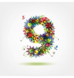 Nine floral number for your design vector image