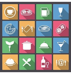 Dishes and food icons in flat design vector
