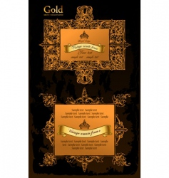 gold decorative frames ancient set vector image