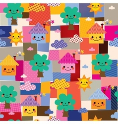 Houses trees and clouds kids pattern vector