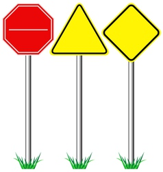 Yellow warning information and red stop road signs vector image