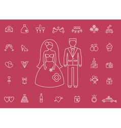 Marriage bridal icons in modern line style vector