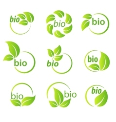 Set of green leaves bio symbol design elements vector