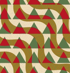 Retro 3d green and brown diagonal waves with vector