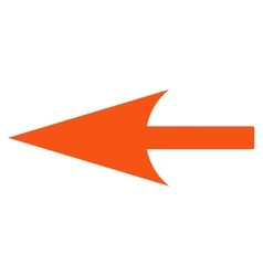 Sharp left arrow flat orange color icon vector